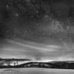 Zimní loučka (Slezské Beskydy – Loučka) | Foto Václav Hýža | Panorama z 66 snímků, 3× plošně. Krajina: 24 snímků, 6× EBKT. Hvězdy: 42 snímků ve 2 řadách