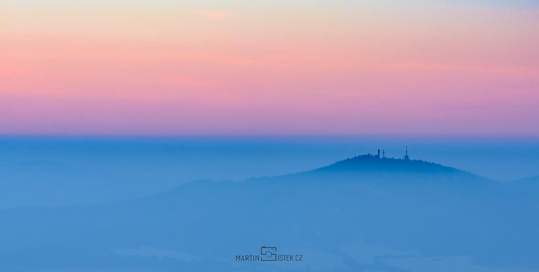 Svatobor, západ slunce, Kašperské hory