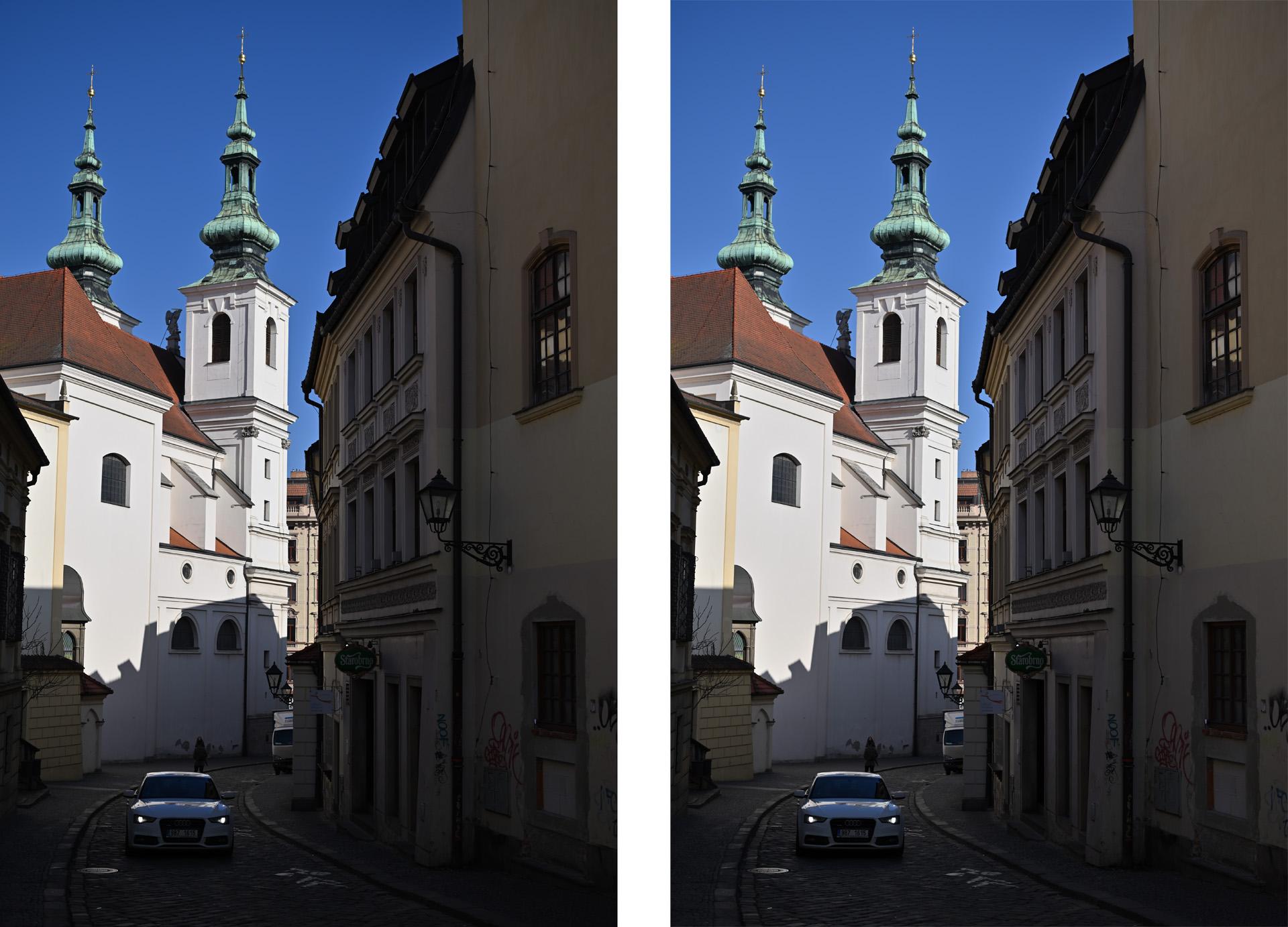 Ukázka zdrojového snímku (vlevo), pořízeného v automatickém nastavení Picture Control a (vpravo) lehce upraveného v Capture NX-D