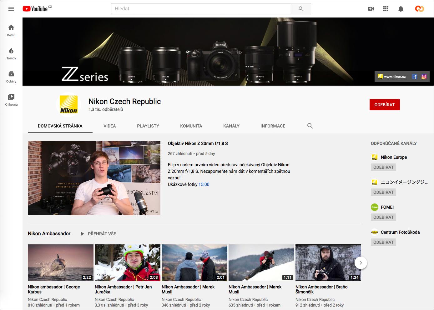 YouTube Nikon Czech Republic