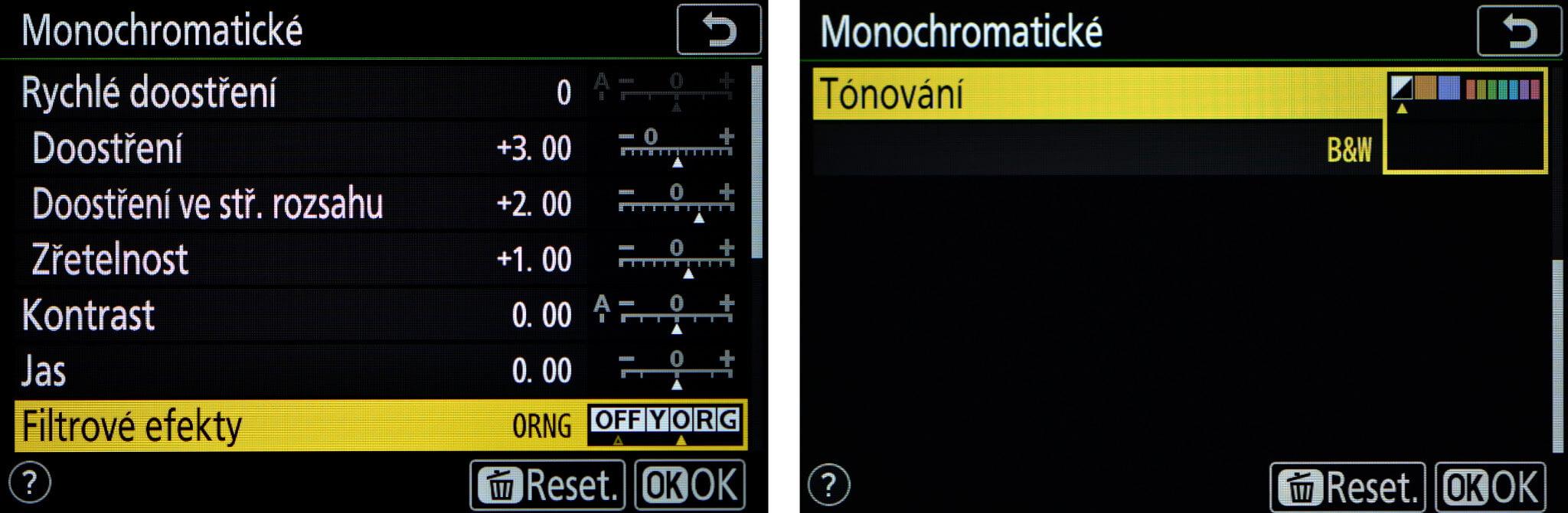 """Pozor, volba Tónování, je u Nikonu Z 50 skrytá až po """"odrolování"""" na druhou """"stranu"""" menu"""
