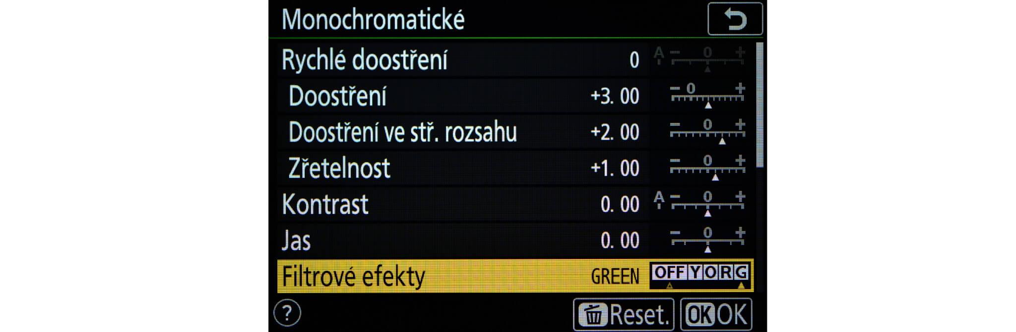 Virtuální barevné filtry v menu Monochromatické