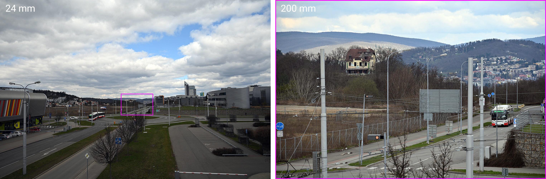 Rozsah zoomu objektivu Nikkor 24–200 mm f/4–6,3 VR v reálu