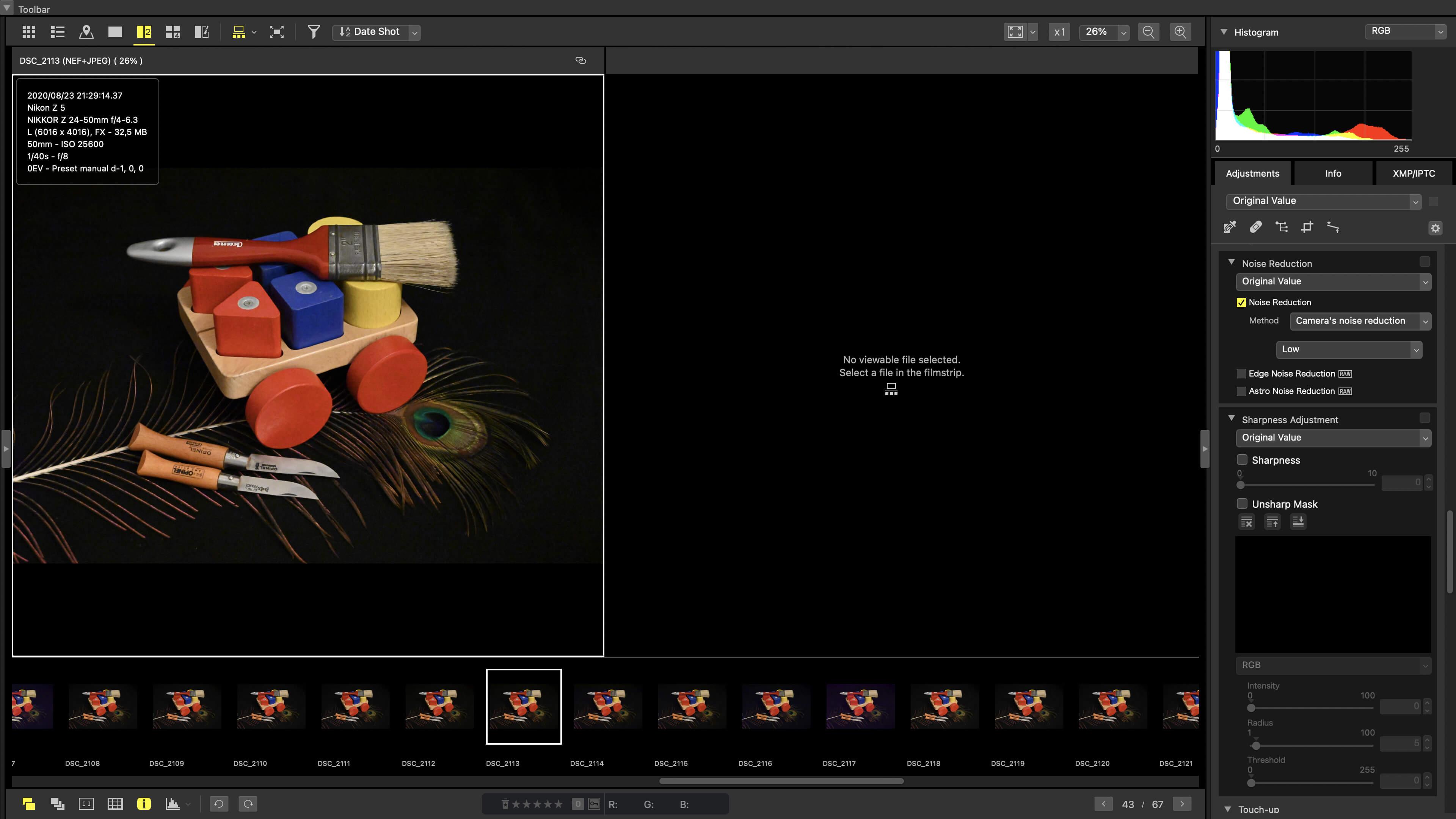 Porovnání dvou nebo čtyř snímků v NX Studiu
