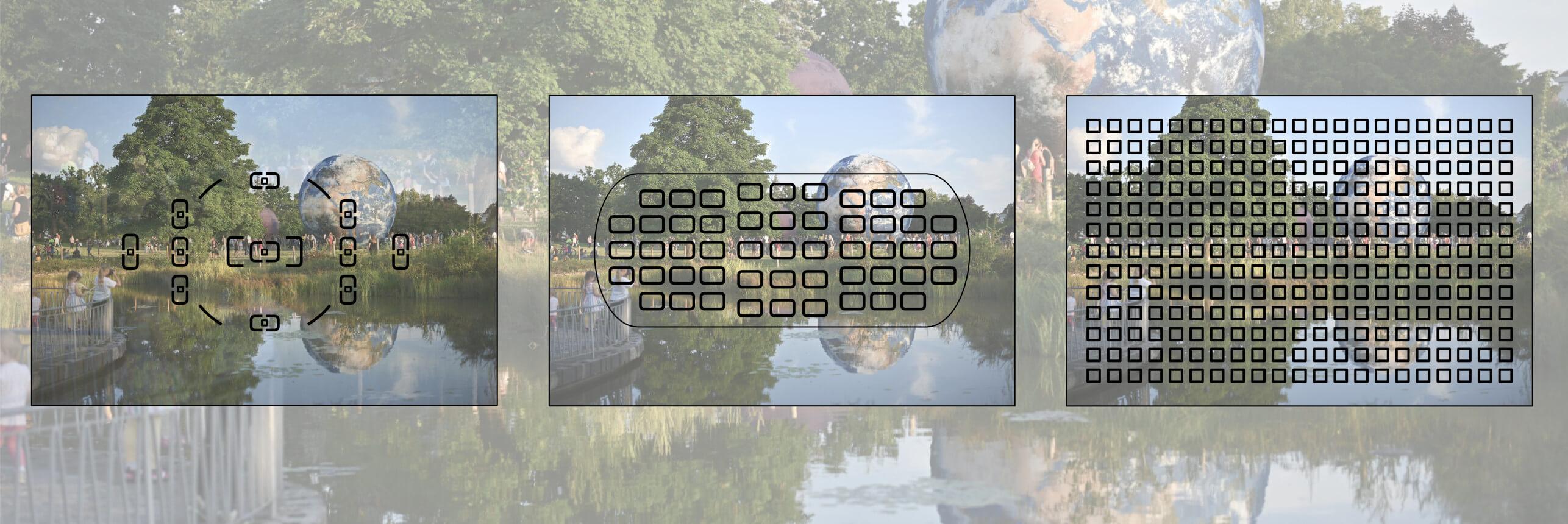 Vlevo ostřicí body amatérské zrcadlovky, uprostřed profesionální DSLR, vpravo mirrorless (Nikon Z 6/Z 6II)