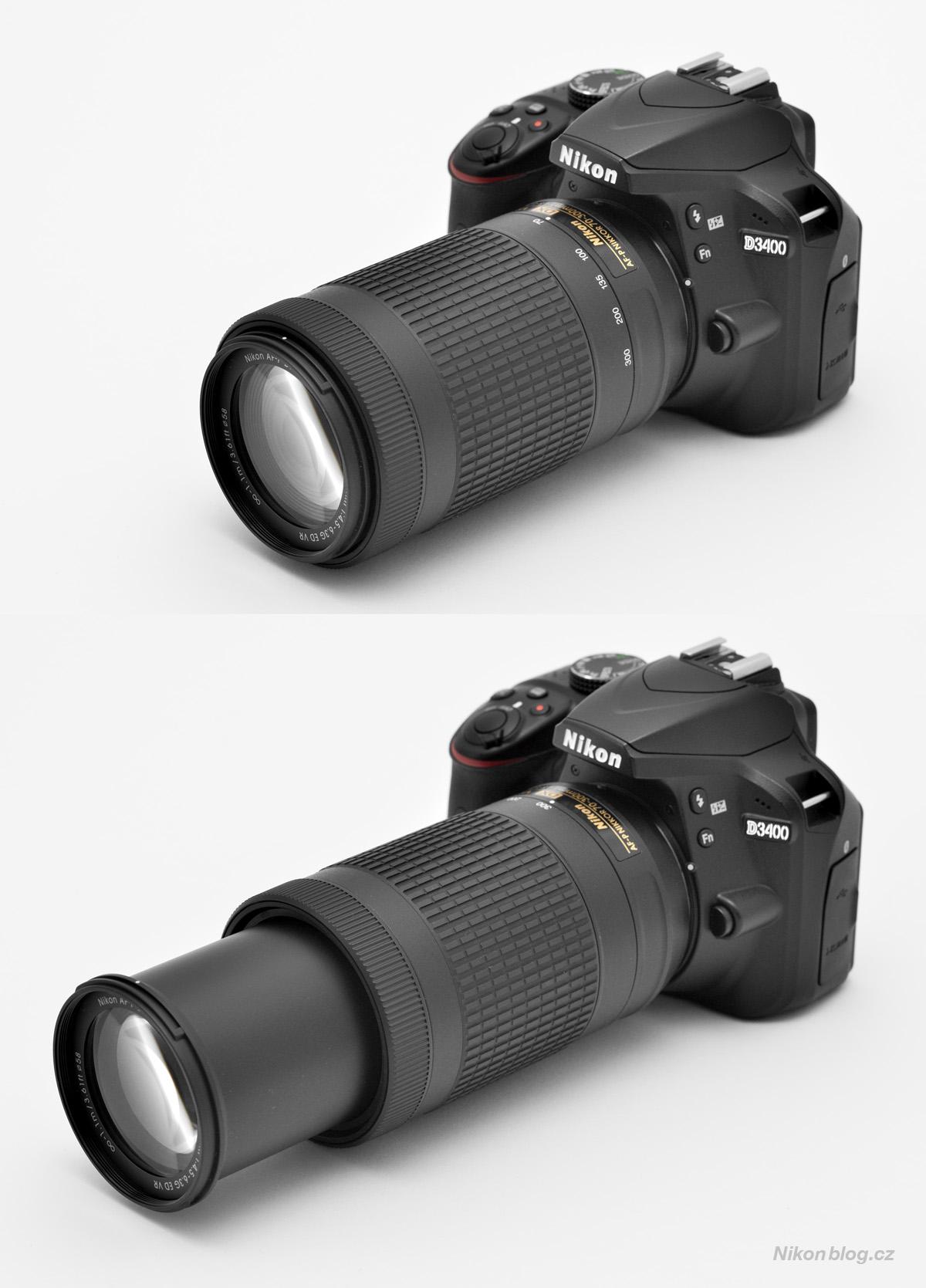 AF-P DX Nikkor 70–300 mm F4,5–6,3G ED VR na těle Nikonu D3400