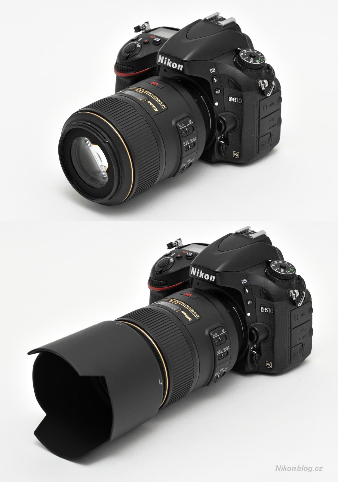 AF-S VR Micro-Nikkor 105 mm F2,8G IF-ED na těle Nikonu D610 se standardně dodávanou sluneční clonou a bez ní
