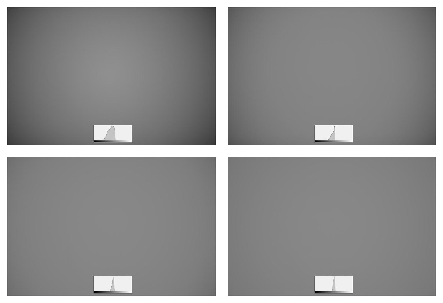 Vinětace objektivu AF-S Nikkor 28 mm f/1,4E ED. Clony F1,4; F2; F2,8 a F4