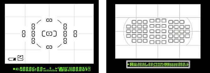 Vlevo hledáček amatérské digitální zrcadlovky, vpravo profesionálního modelu