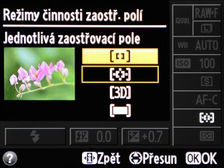 Režimy činnosti zaostřovacích polí u DSLR Nikonu nižší třídy