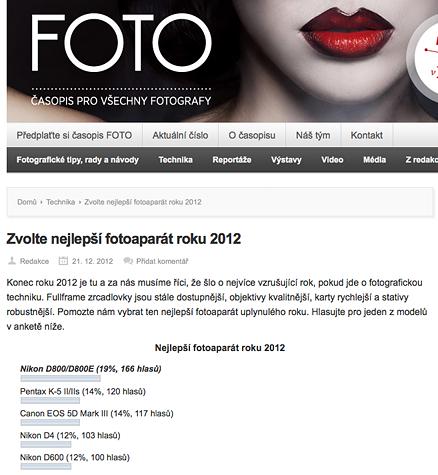 Anketa Fotoaparát roku 2012 časopisu FOTO