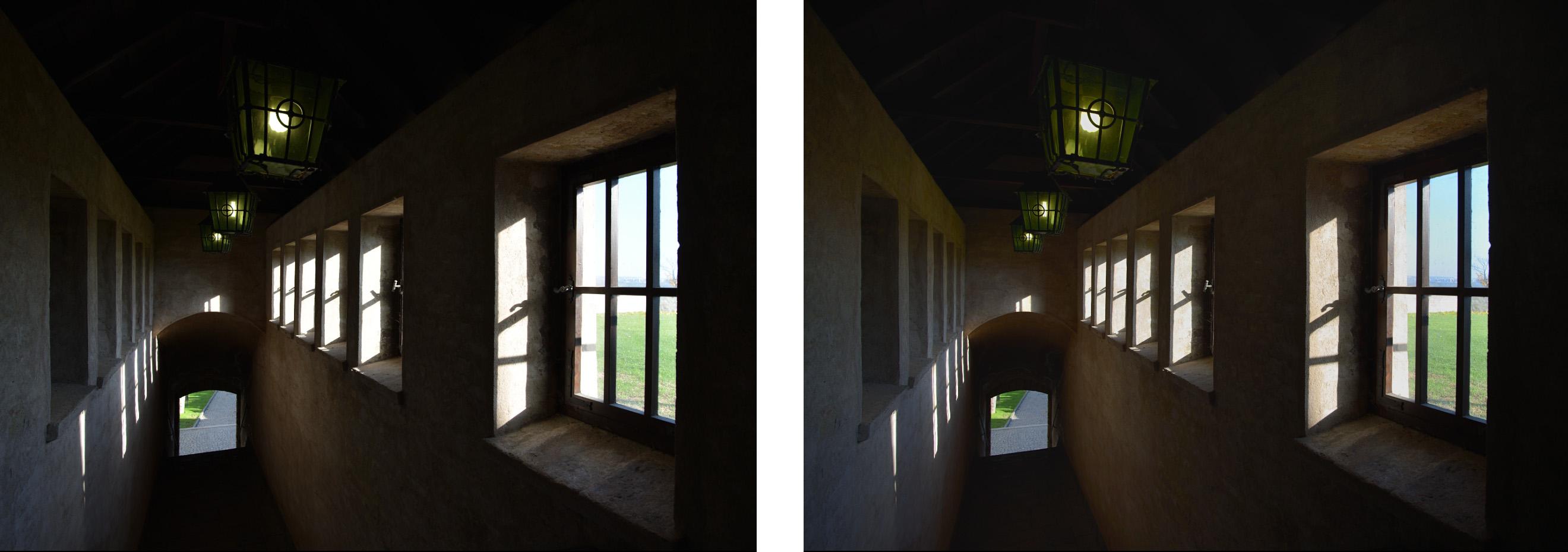 Porovnání zdrojového snímku a fotografie upravené pomocí kontrolních bodů