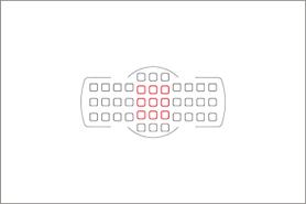 Červeně vyznačené jsou křížové ostřicí body