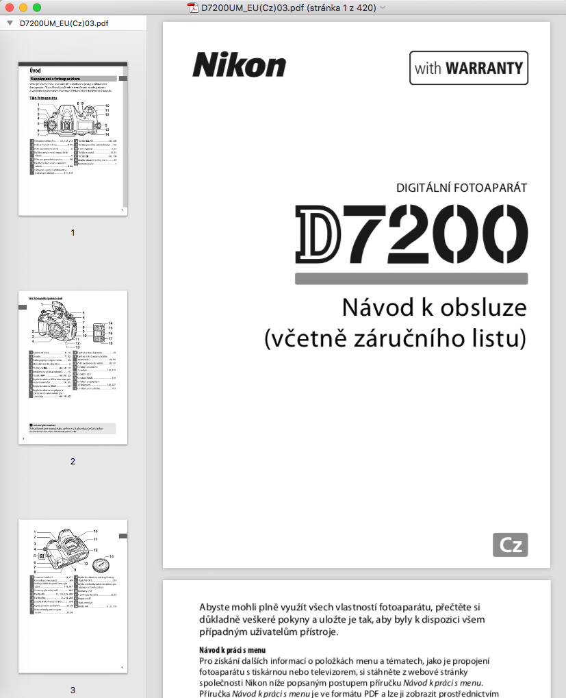 PDF manuál Nikon
