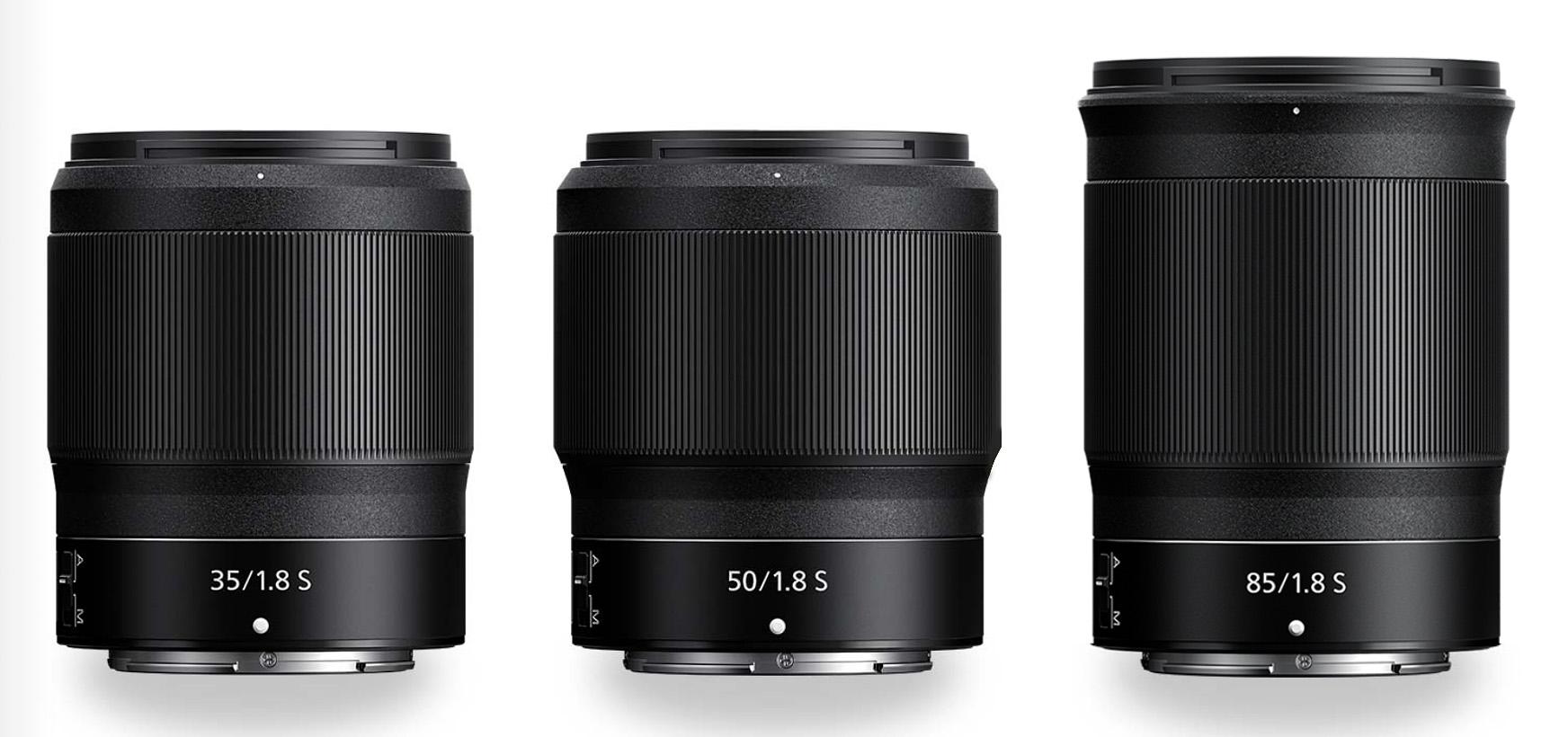 Porovnání velikostí: Nikkor Z 35 mm f/1,8 S, Z 50 mm f/1,8 S a Z 85 mm f/1,8 S