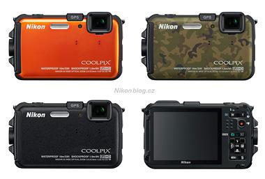 Na našem trhu je Nikon Coolpix AW100 k mání ve třech barvách: Černé, oranžové nebo v maskovaném provedení typu kamufláž