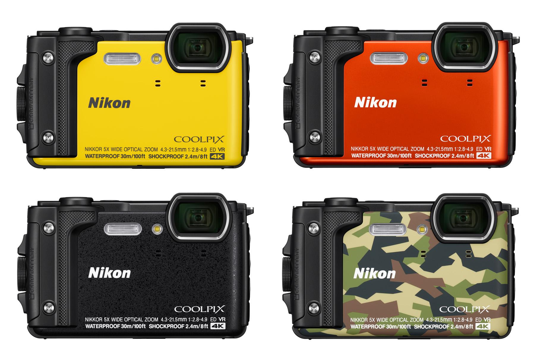 Nikon Coolpix W300 je dodávaný ve čtyřech barevných provedeních včetně oblíbené kamufláže