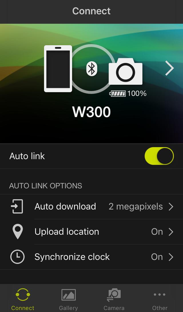 Úvodní obrazovka aplikace Snap Bridge ve smartphonu s operačním systémem iOS