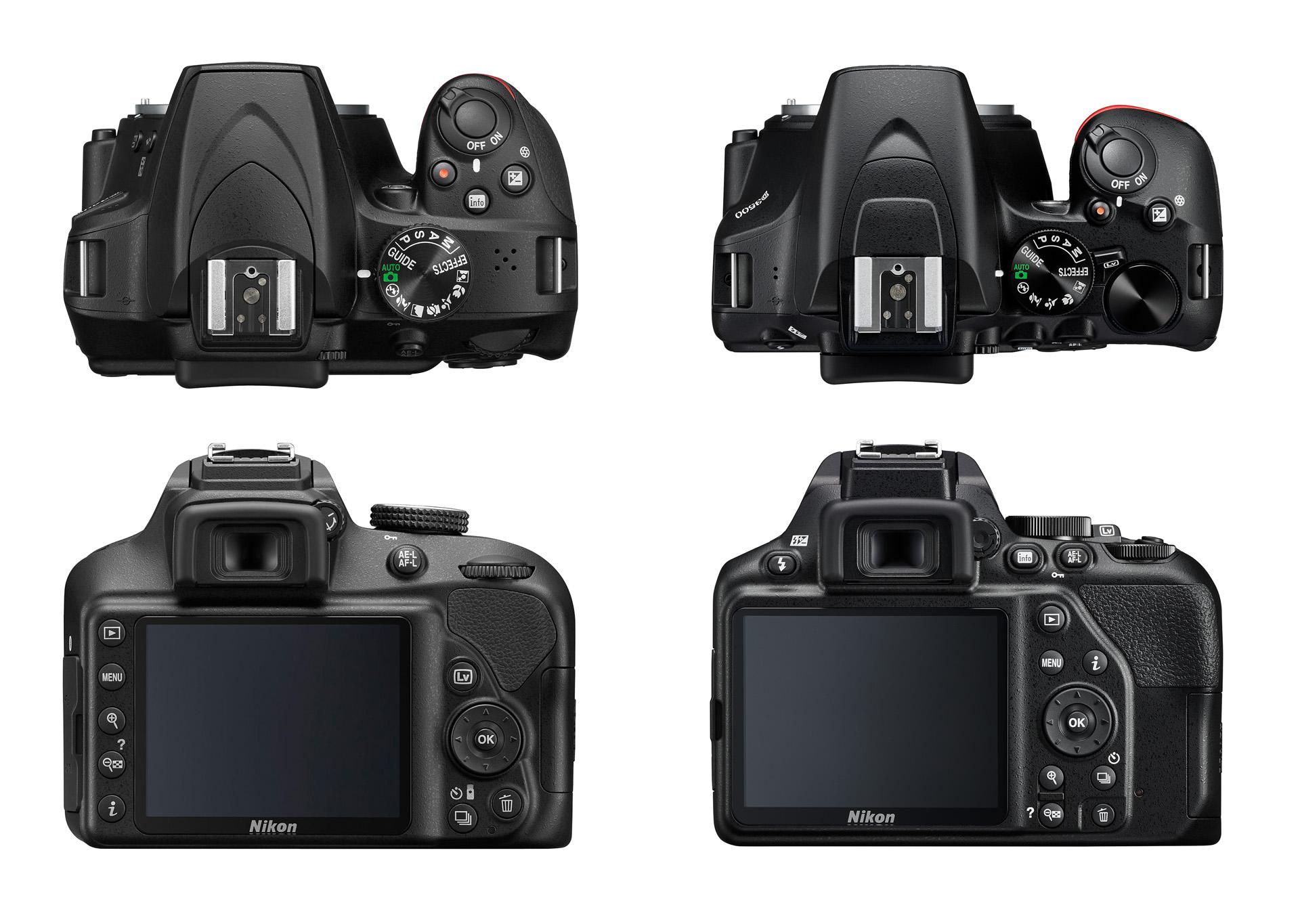 Porovnání Nikonu D3500 se starším modelem D3400 (vlevo)