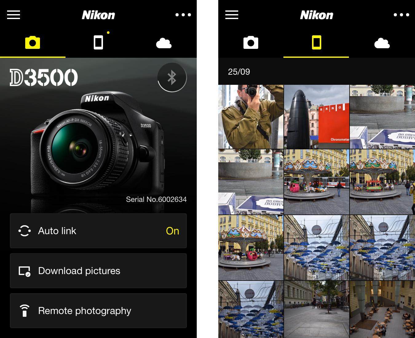 Nikon D3500 –Snap Bridge