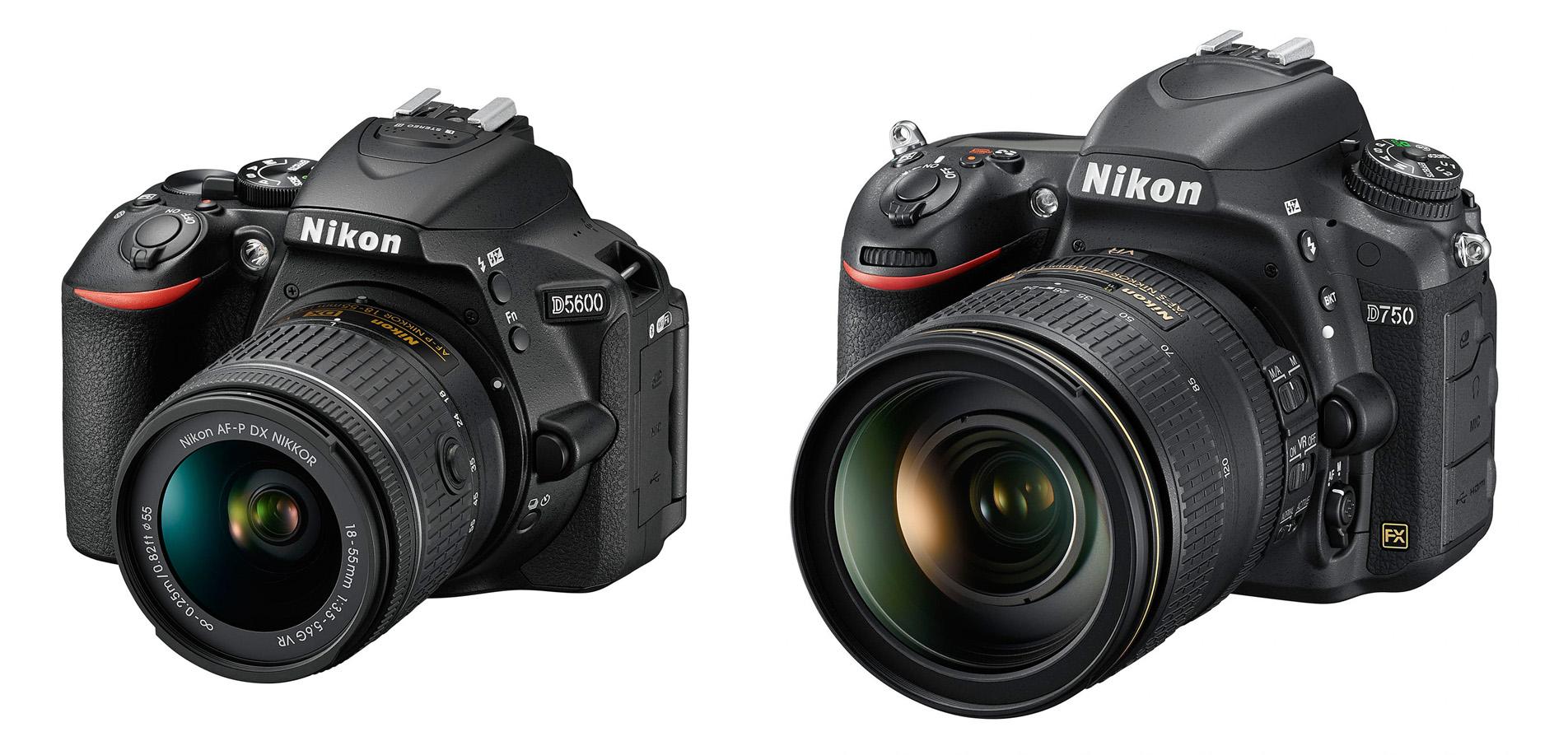 Vlevo střední třída DX zrcadlovek –Nikon D5600, vpravo střední třída FX zrcadlovek –Nikon D750
