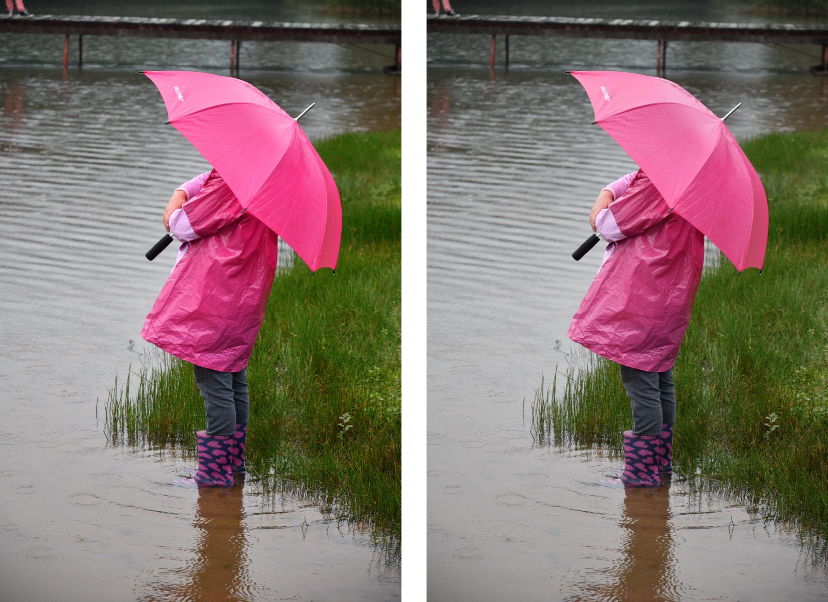 """Vlevo originální barevnost, vpravo """"vynulovaná"""" Zřetelnost a snížená Saturace v Picture Control"""