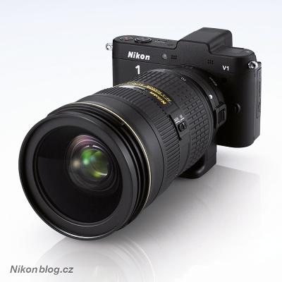 FX objektiv nasazený na Nikonu 1 V 1 přes redukci FT1