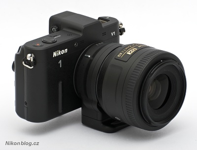 DX objektiv nasazený na Nikonu 1 V1 přes redukci FT1