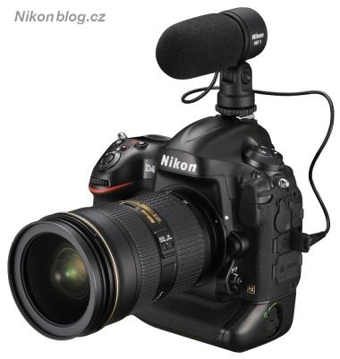 Nikon D4 s nasazeným externím mikrofonem Nikon ME-1