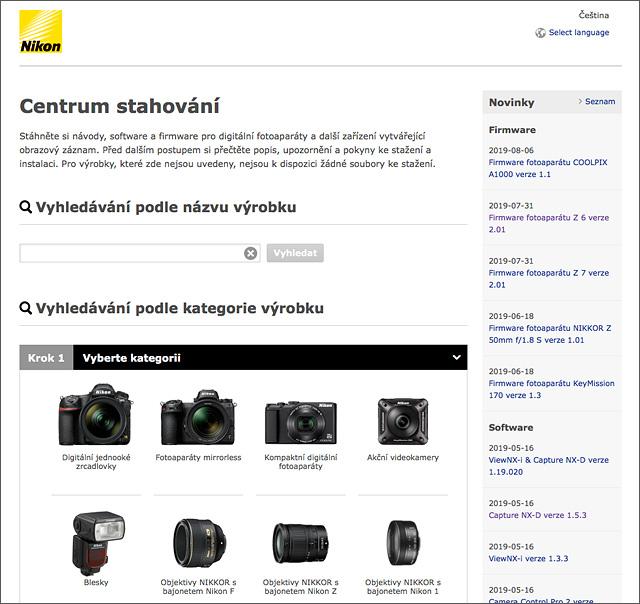 Centrum stahování Nikon