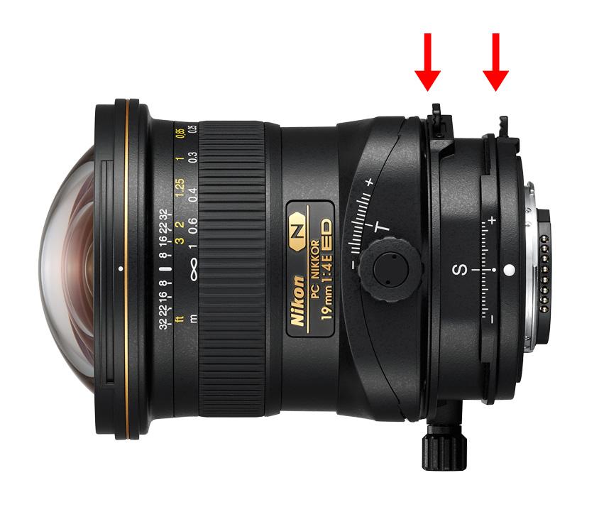 Dva otočné mechanismy objektivu PC Nikkor 19 mm f/4E ED