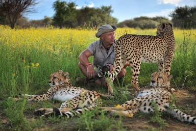 Petr Slavík při práci na rozhovoru s Marlice van Vuuren Namibie | Foto Marlice van Vuuren