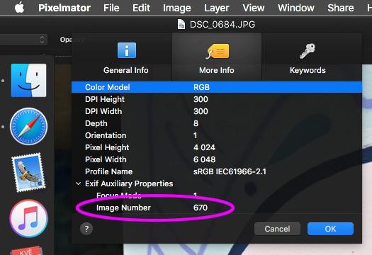 Počitadlo snímků v aplikaci Pixelmator na Mac OS X