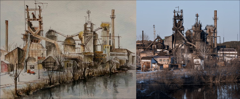 Andrea Pompili – Vysoká pec, akvarel, 2015 – Železárny Verkhnyaya Sinyachikha, 2016