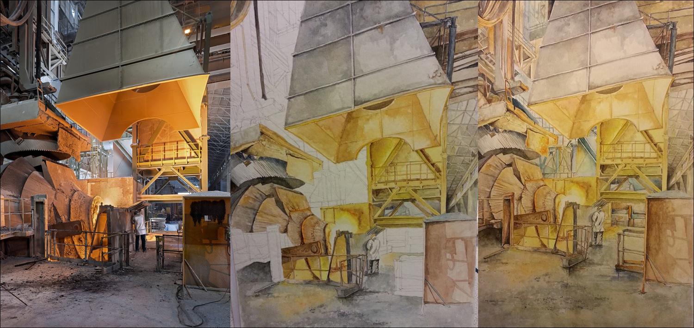 Andrea Pompili – U konvertoru, akvarel, 2015 – Scéna zitalské ocelárny ThyssenKrupp Terni, 2013