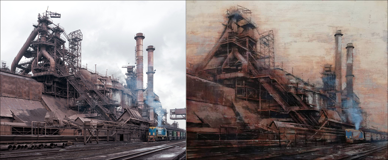 Claudio Cionini – Ocelárna, olej na plátně, 2017 – Vysoké pece železáren Iljiče vMariupoli, 2015