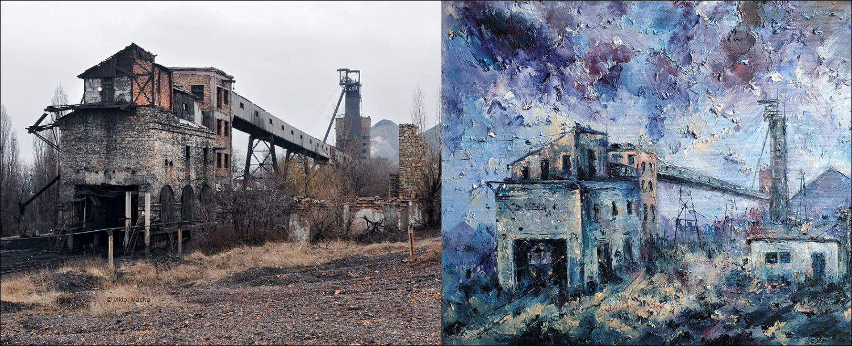Sveta Shirkova – Popel, olej na plátně, 2019 – Šachta Južnaja, Donbas, 2012