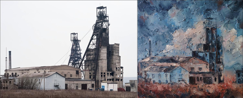 Sveta Shirkova – Rez, olej na plátně, 2019 – Důl Rudý říjen, Donbas, 2012