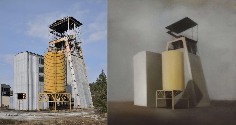 Marion Tivital – Site Industriel, olej na plátně, 2012 – Jáma č.13 uranového dolu Hamr, 2009