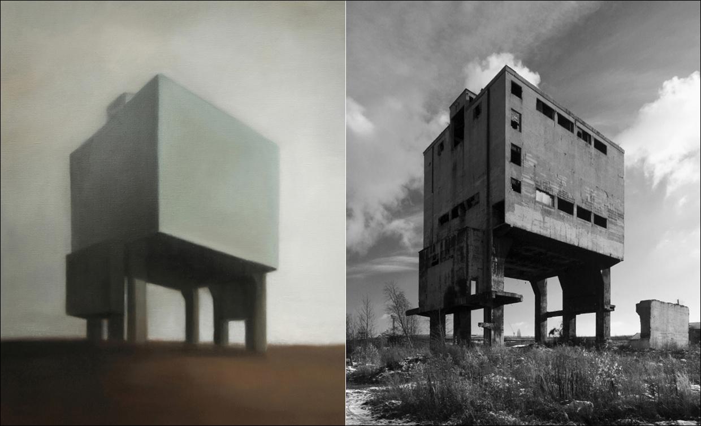 Marion Tivital – Site Industriel 151, olej na plátně, 2011 – Uhelná věž koksovny Vojtěšské huti, 2008