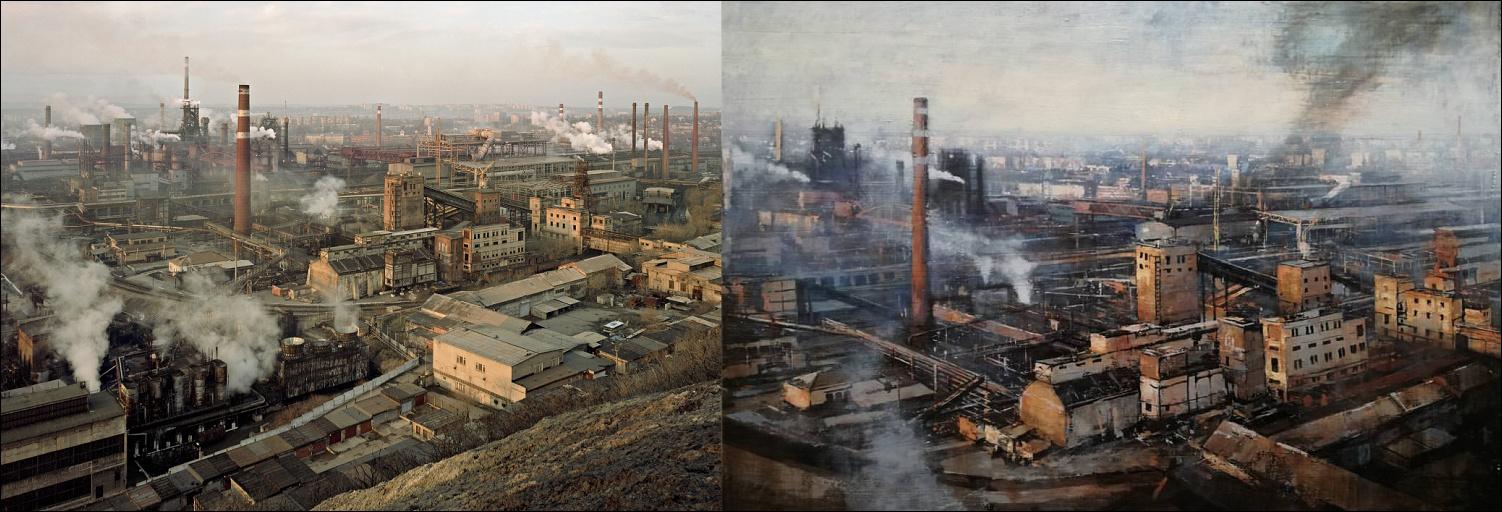 Claudio Cionini – Průmyslová krajina, olej na plátně, 2017 – Úsvit nad železárnou ukrajinskou Donetskstal, 2012