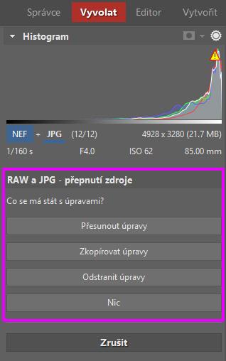 Možnosti kopírování a přesouvání úprav mezi JPEGy a RAWy