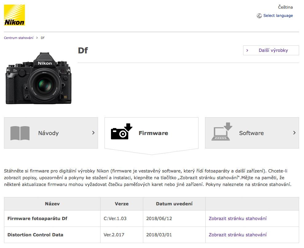Aktualizace firmwaru Nikon