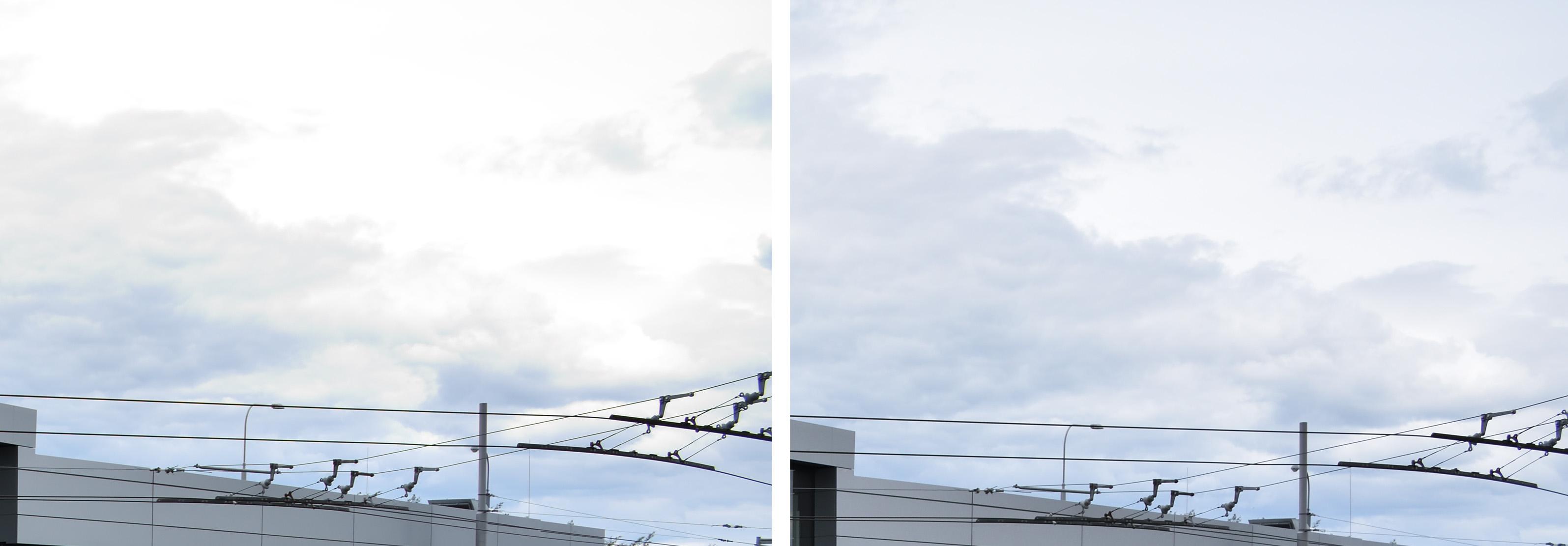 Srovnání detailu pravé horní části oblohy. Vlevo upravený přeexponovaný RAW, vpravo korektně exponovaná fotografie.