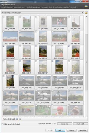 Panoráma z dílčích fotografií