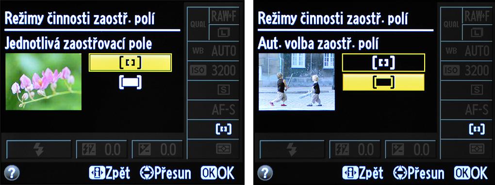 Nastavení režimu činnosti zaostřovacích polí u amatérské DSLR (Nikon D3xxx) v menu